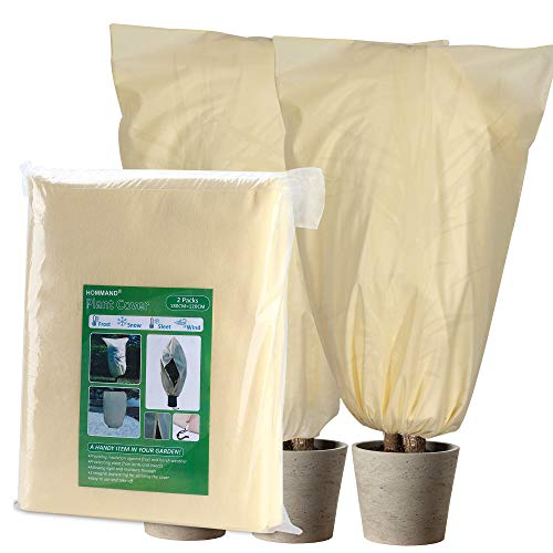 HOMMAND 2 Piezas Cubierta para Plantas 180x120cm, Funda para Plantas para el Invierno, con 2 Cordones Extra incluidos, Proteger Plantas del Frio contra los Pájaros, el Viento y Las Heladas
