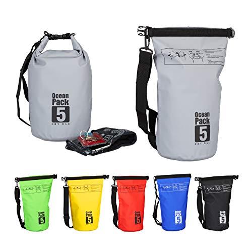 Relaxdays Ocean Pack, 5L, wasserdicht, Packsack, leichter Dry Bag, Trockentasche, Segeln, Ski, Snowboarden, dunkelgrau
