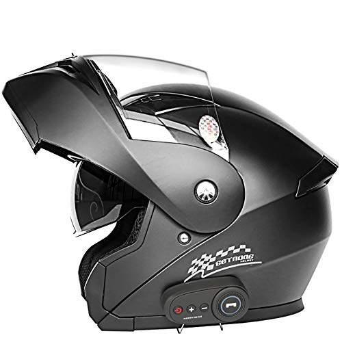 Super-ZS 5.0 Casco De Motocicleta Abatible con Bluetooth, Aprobado por Dot Ligero Antivaho De Doble Visera Casco Integral para Motocicleta para Street Bike Racing Motocross ATV