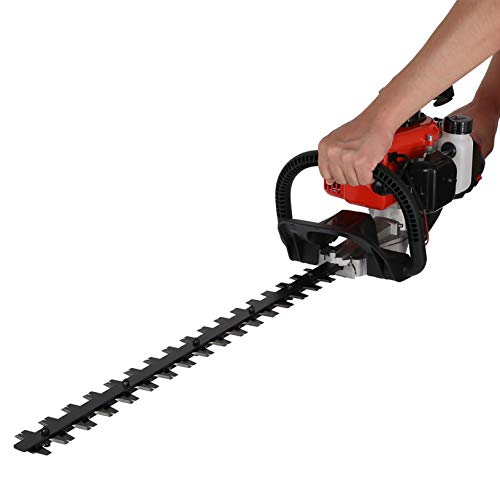 20-Inch 26cc 2 Cycle Gas Powered Dual Sided Hedge Trimmer for Garden and Lawn Care, Gas Hedge Trimmer Recoi-l Gasoline Trim Blade (Orange)