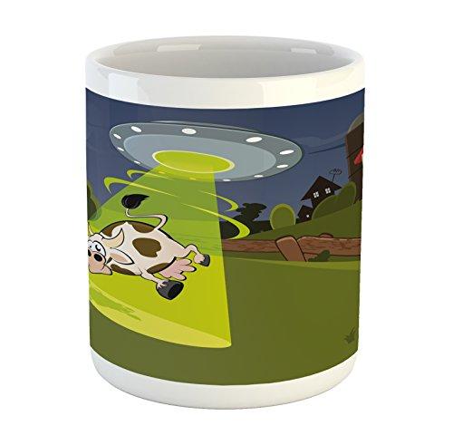 Ambesonne Cartoon Mug, Farm Warehouse Grass Fences Cow Alien Abduction Funny Comics Image Artwork Print, Printed Ceramic Coffee Mug Water Tea Drinks Cup, Multicolor
