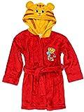 Daniel Tiger Toddler Boys Girls Hooded Plush Fleece Bathrobe Robe with Ears (4T, Red/Gold)