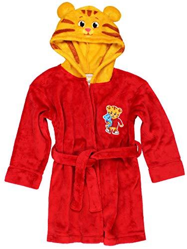 Daniel Tiger Toddler Boys Girls Hooded Plush Fleece Bathrobe Robe with Ears (3T, Red/Gold)