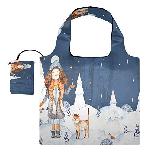 Wiederverwendbare Einkaufstaschen – Neujahr, Winterlandschaft, Weihnachtsbaum, faltbare Tragetasche, groß, maschinenwaschbar, Recycling-Tuch mit Tasche