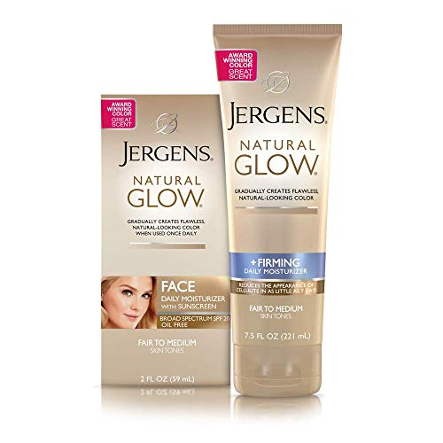 Jergens Natural Glow + Firming Self Tanner, Sunless Tanning Lotion for Skin Tone, Anti Cellulite Firming Body Lotion for Natural-Looking Tan, Oz, Fair to Medium, Fresh, 7.5 Fl Oz (Packaging May Vary)