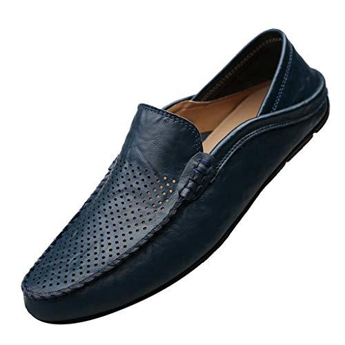 YWLINK Mocasines Hombre Hueco Transpirable Zapatos De ConduccióN Elegantes Y Ocasionales CláSicos Zapatillas TamañO Grande CóModo Fiesta Festival Corriendo Regalo del DíA De Miembro(Azul,41EU)