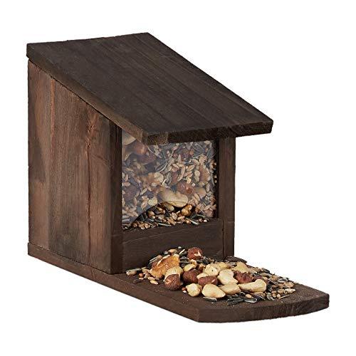 Relaxdays Eichhörnchen Futterhaus, Futterkasten f. Eichhörnchen, zum Aufstellen, Holz, HBT 17,5 x 12 x 25cm, dunkelbraun
