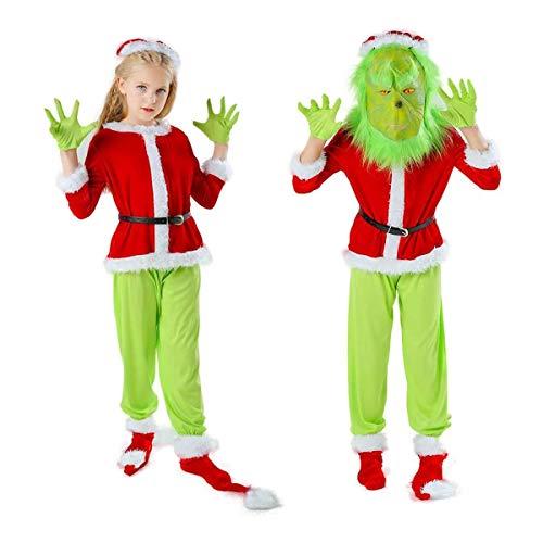 Verde Di Santa Grinch Costume, Attrezzatura Natale For Bambini Cosplay Del Vestito Operato Con Maschera, Cappello, Cappotto, Cintura In Vita, Guanti, Pantaloni, Copriscarpe, 7pcs ( Size : Large )