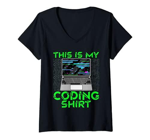 Mujer Esta es mi codificación Camisa Coder Pila Completa Desarrollador Web Dev Camiseta Cuello V