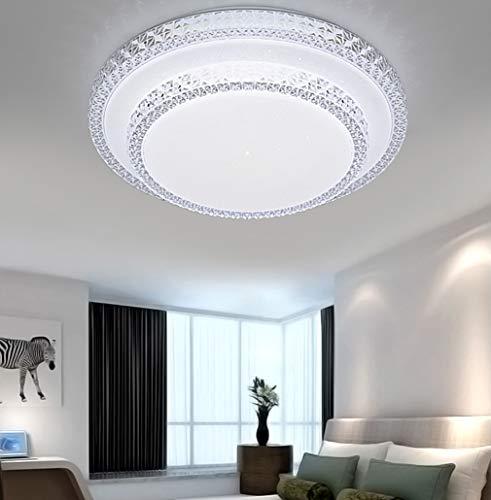 DIWIWON 72W Plafoniere LED Lampada Da Soffitto A LED Dimmerabile Con Telecomando Lampada Da Soggiorno Plafoniera con cristallo cornice decorativa (72W Rotonda Dimmerabile)