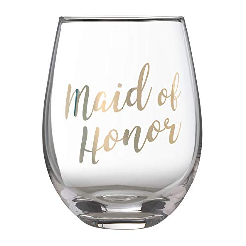 Lillian Rose Gold Maid of Honor Stemless Wine Glass, Height 4.75 inches