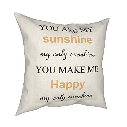 iksrgfvb Pillow Case Cushion Covers You Are My Sunshine Square Pillowcases for Living Room Sofa 18 x 18 inch