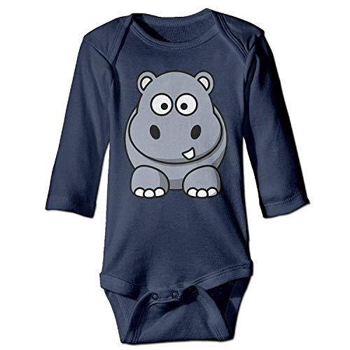MSGDF Unisex Toddler Bodysuits Hippo Boys Babysuit Long Sleeve Jumpsuit Sunsuit Outfit Navy