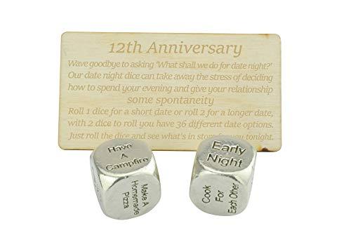 12 Year Anniversary Metal Date Night Dice - Create a Unique 12th Anniversary Date Night