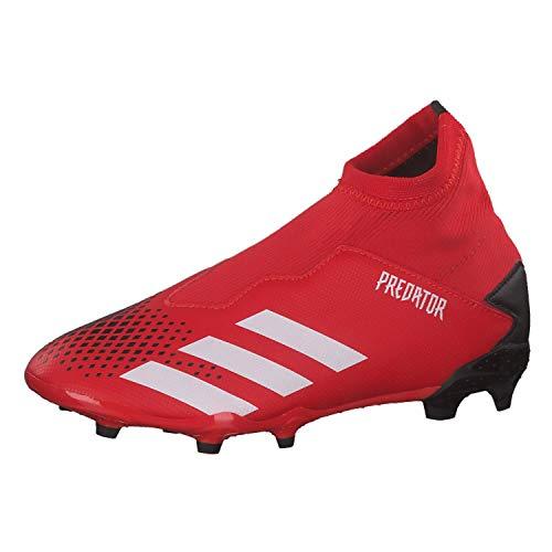 adidas Predator 20.3 Ll Fg J, Scarpe da Calcio per Bambini Unisex-Bimbi 0-24 Unisex-Bimbi 0-24, Grigio Rosso Attivo Bianco Ftwr Nero, 33 EU