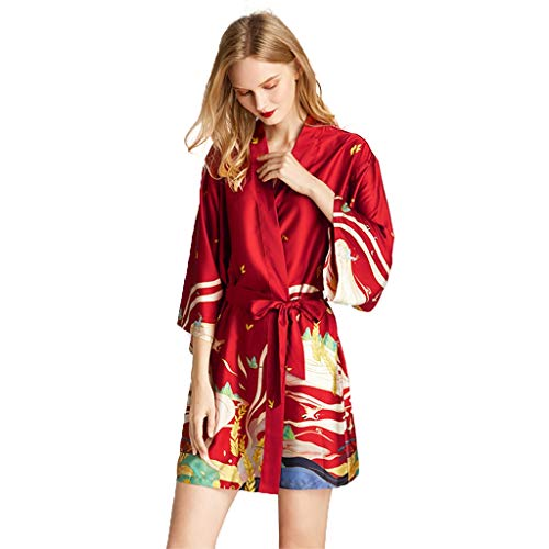 Women's Badjas Pajamas Vrouwen Badjas Morning Robe Dunhuang Mural Print, Kimono Robe Satin Bruids Robes Nachtkleding Nightgowns Sleepshirts (Color : Wine red, Size : XL)