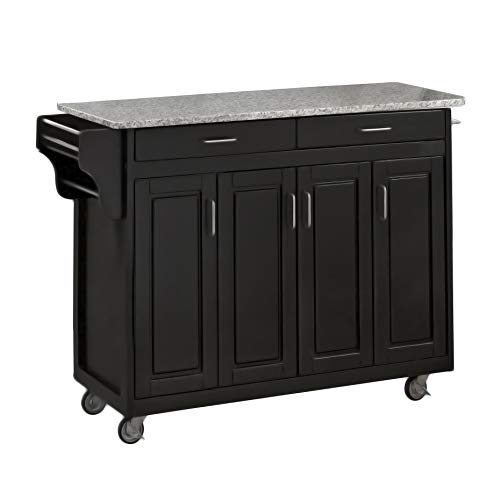 Home Styles Mobile Create-a-Cart Black Finish Four Door Cabinet Kitchen Cart with Gray Granite Top, Adjustable Shelving