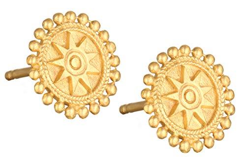 Satya Jewelry Ohrstecker Damen Gold - Runde Ohrringe Mandala Motiv - Silber 925 Vergoldet - CEG1-MAN