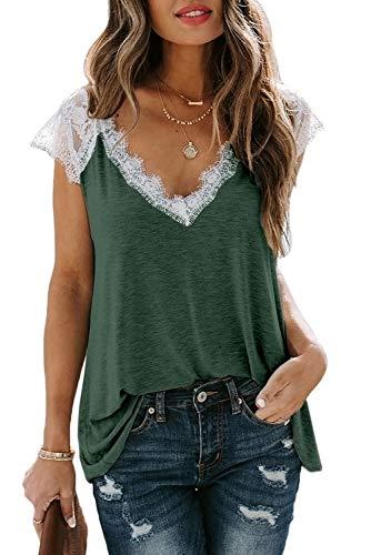 Mosucoirl Women V Neck Lace Tank Top Loose Sleeveless Tunic Basic Trim Shirt Crochet Summer Casual Blouse(1 Green,X-Large)