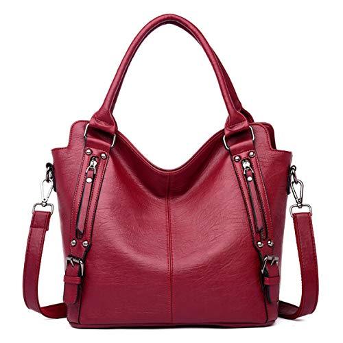 Monitika Mujer Bolsos totes Moda Cuero Bolsos de mano grande capacidad Shoppers y bolsos de hombro (Rojo vino)