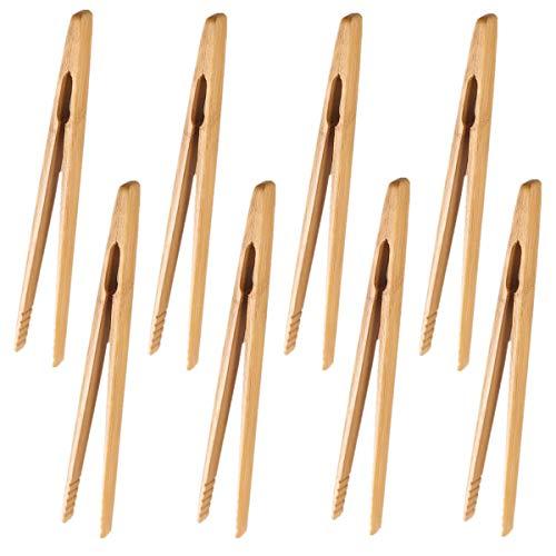 Lot de 8 Pinces de cuisine en bambou Non toxiques Réutilisables