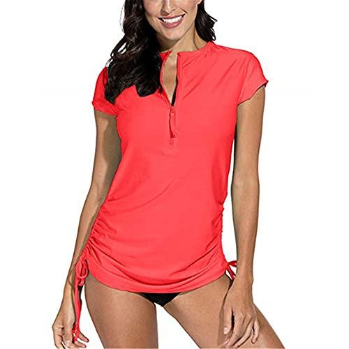 Tops Mujer Cómoda Cremallera Decoración Color Sólido Dobladillo Cordón Mujer Sudadera Suave Transpirable Verano Viajes Fitness Mujer Blusa A-Red L