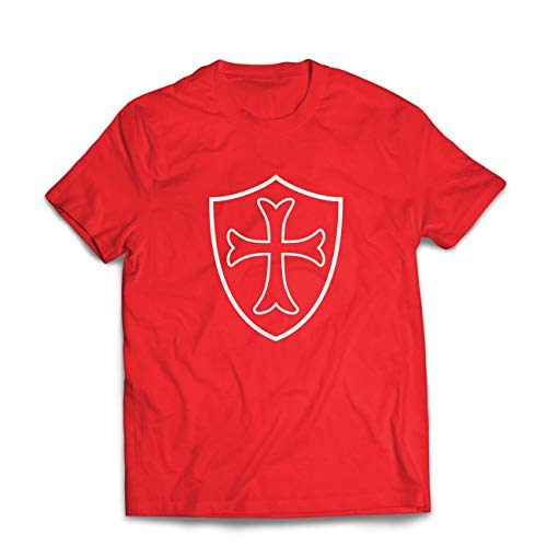 lepni.me Camisetas Hombre Escudo de los Caballeros Templarios, Cruz Roja, Orden de Caballeros Cristianos (XX-Large Rojo Multicolor)