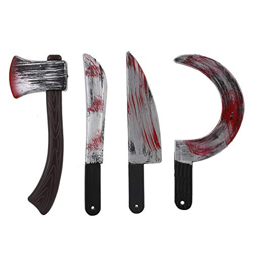 XWU Halloween Bloody Knives Plastic Knife,Bloody Weapons Machete,Axe, Cleaver and Sickle Halloween Props Party Decoration Set for Halloween Party Favor(4Pcs/Set)