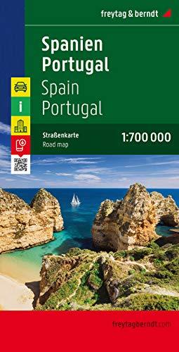 Spanien - Portugal, Autokarte 1:700.000: Citypläne, Entfernungen in km, Ortsregister mit Postleitzahlen (freytag & berndt Auto + Freizeitkarten)