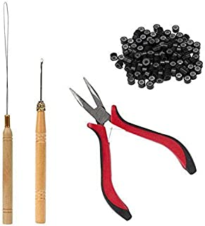 4Pcs Hair Feather Extension Tool Kit Plier Hook Pulling Needle 500Pc 5mm Black Micro Silicone Link Rings Beads