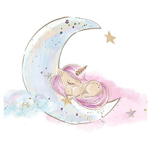 Little Deco Cuadro Unicornio I Luna & Estrellas I A4-21 x 29,7 cm I Cuadros Pared Bebé Cuarto Infantil Tatuaje Deco Niñas Rótulo de DL167