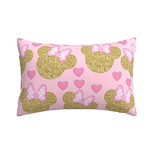 Minnie Mouse Bow - Fundas de almohada ligeras y supersuaves con cremallera, fundas de cojín para el hogar y el sofá cama