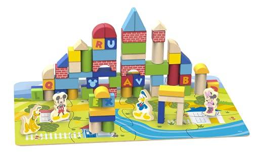 Disney Mickey 92 Blocs de Construction en Bois, TY003, Multicolore