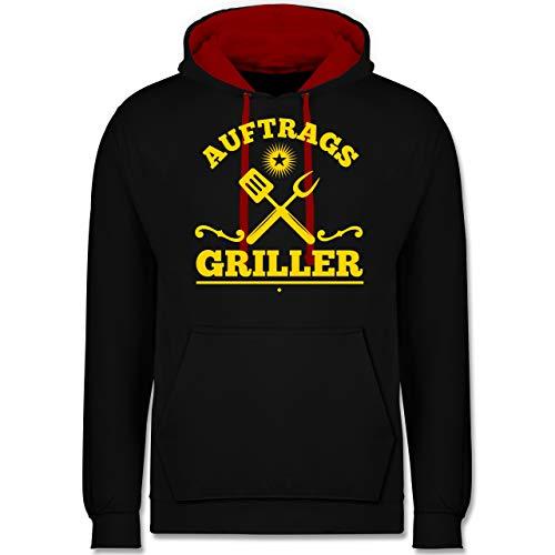 Shirtracer Grill - Auftrags Griller - XL - Schwarz/Rot - Spruch - JH003 - Hoodie zweifarbig und Kapuzenpullover für Herren und Damen