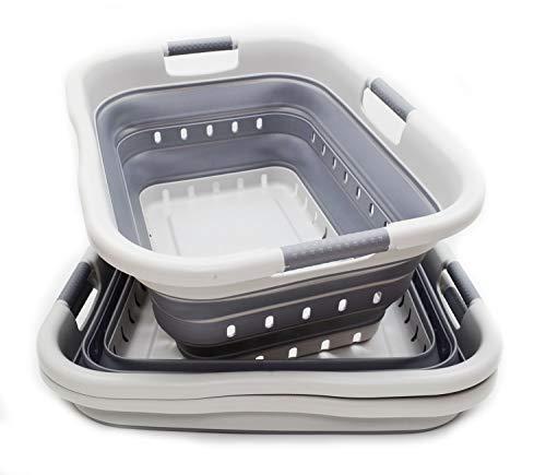 SAMMART Set of 2 Collapsible 3 Handled Plastic Laundry Basket -...