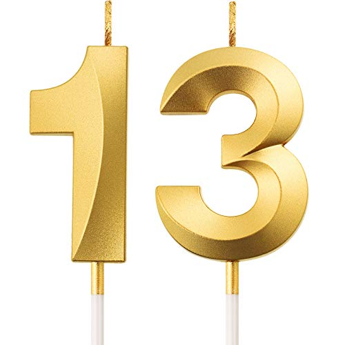 BBTO 13th Birthday Candles Cake Numeral Candles Happy Birthday Cake Topper Decoration for Birthday Party Wedding Anniversary Celebration Supplies (Gold)