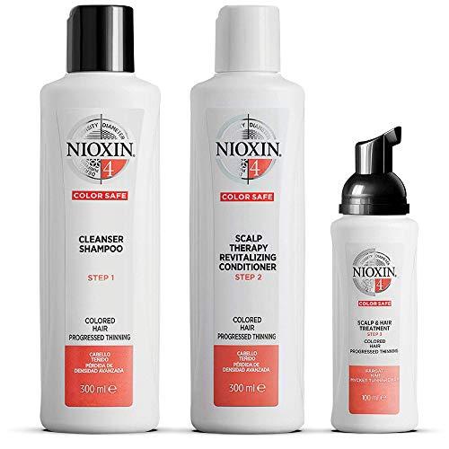 NIOXIN - Kit de 3 pasos - Tratamiento para Cabello Teñido que Proporciona el Doble de Densidad en unos Segundos (Champú 300 ml - Acondicionador 300 ml - Tratamiento 100 ml) - Sistema 4