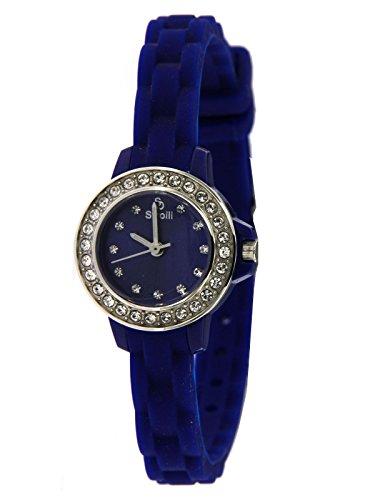 Stroili Watch Orologio Solo Tempo Blu con Ghiera Impreziosita da strass,cassa in Acciaio e Cinturino in Silicone Referenza B0585-8