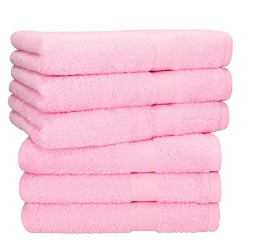 Betz 6 Stück Handtücher Palermo 100% Baumwolle Größe 50 x 100 cm Handtuch Set Farbe rosé