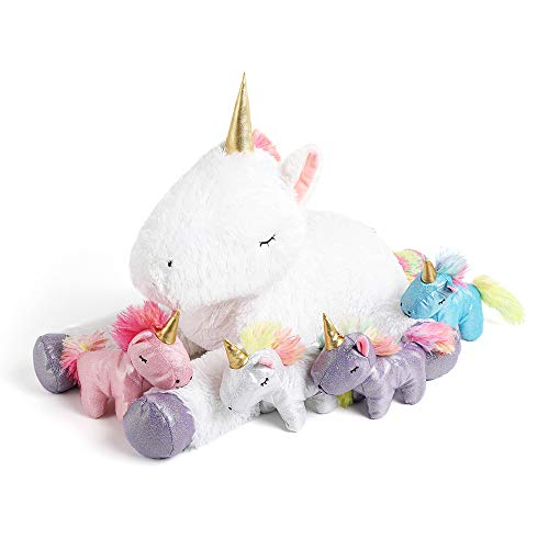 Tezituor 24 Inches Unicorn Plush Toy Set for Girls,4 Colorful Unicorns in Mommy Unicorn's Belly,Unique Stuffed Unicorns Gifts for Children.