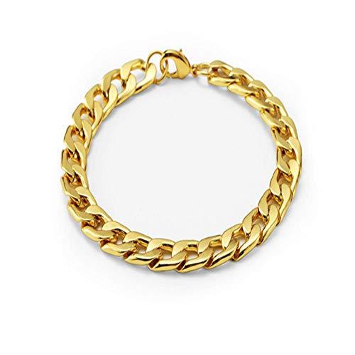 ZIYIZNL Heren Armband Ketting Gepolijst RVS Zilver Zwart Goud Kettingen voor Mannen Cubaanse Mode Straat Eenvoudige Domineering Tide Merk Vrouwelijke Goud Armband Hip hop Armband Sieraden, 22CM