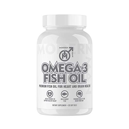 Modern Man Omega 3 Fish Oil Burpless Extra Strength for Heart and Brain Health  More EPA amp DHA  120 Count