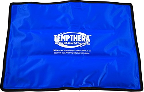 Tempthera Reusable Hot and Cold Gel Packs for Therapy, Wrap for Pain Relief (Back, Shoulder, Neck, Arm, Leg) - 22 x 13 Inch (Medium Size) - 1 Count - Blue