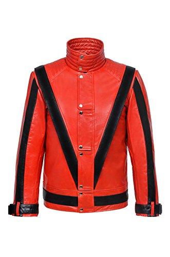 Smart Range Thriller Herren ROT Michael Jackson Stil Musik Echtes Leder Jacke (3XL)