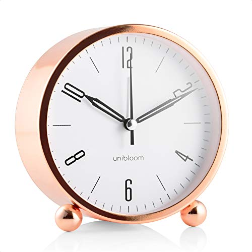 Unibloom Despertador analógico silencioso – Despertador con luz cálida – Despertador redondo minimalista de metal luminoso – Despertador de noche moderno – Reloj de alarma – Decoración vintage (cobre)