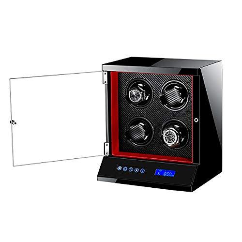 TANGIST Automático Cajas Giratorias para Relojes 4 Relojes con Candado Pantalla Táctil LCD Motor Silencioso 5 Modos Madera+Piano Lacquer (Color : Black)