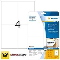 HERMA 5082リムーバブルラベルA4 105x148 mmホワイト可動/リムーバブルペーパーマット100個