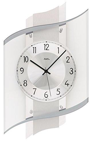 AMS Moderne Wanduhr mit Funkwerk, Funkuhr, batteriebetrieben Silber 48cm- 5516