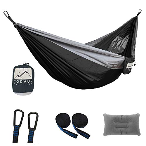 """Corvus Outdoors Double Camping Hammock, for Hiking and Backpacking, 2-Person, Portable 118""""x73"""" Size, with Tree Straps and Inflatable Pillow, Plus Additional Storage Pockets, Made of Rugged Nylon"""