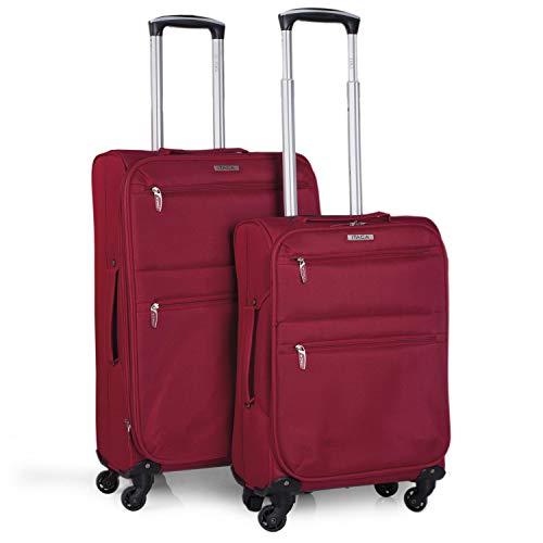 ITACA - Juego Maletas de Viaje Blandas 4 Ruedas Trolley 55 68 cm poliéster eva. Extensibles Ligeras y s. Mango y Asas. Cabina Low Cost y Mediana. i52715, Color Rojo